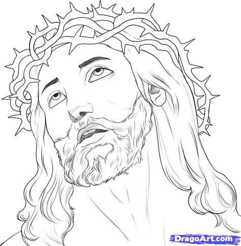 coloring page of jesus face jesus christ on the cross drawings how to draw jesus