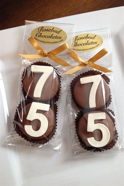 8 Chocolate 75th Double Oreo Cookie Favors by