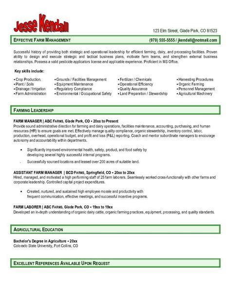 Farm Manager Cover Letter Agriculture Resume Template Model Resume Exles Choose Agriculture Resume Click To Enlarge