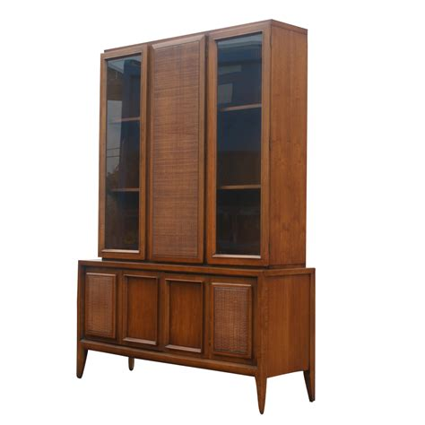 china hutch 52 quot x 73 quot vintage wood glass hutch china cabinet ebay