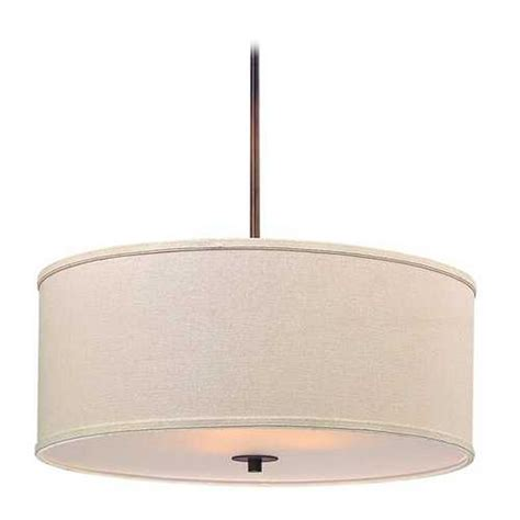 Drum Shade Pendant Light Remington Bronze Drum Pendant Light With Linen Shade Ebay