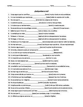 Subjunctive Practice Worksheets