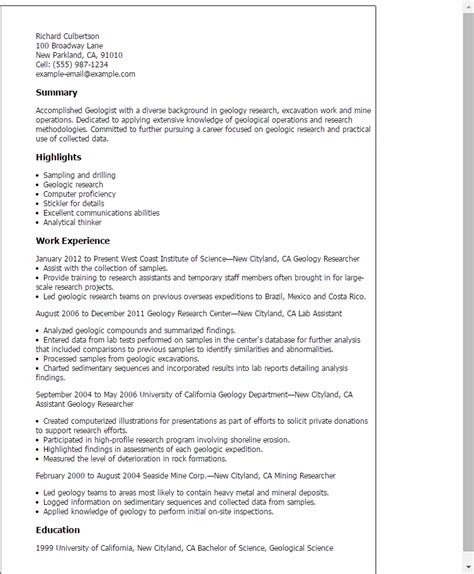 geologist resume template professional geology templates to showcase your talent