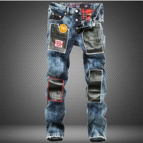 Roughneck Light Blue Denim Dj38 1 appliques pattern patch designs spliced leather vintage mens hip hop rock streetwear for