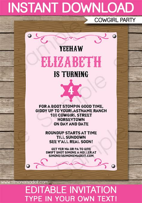 Cowgirl Party Invitations Template Birthday Party Birthday Invitation Editable Templates