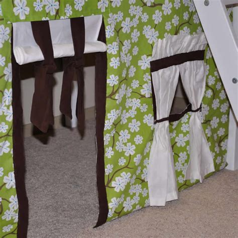 lime green and chocolate curtains green brown nature tent w maxtrix kids bunk or loft bed