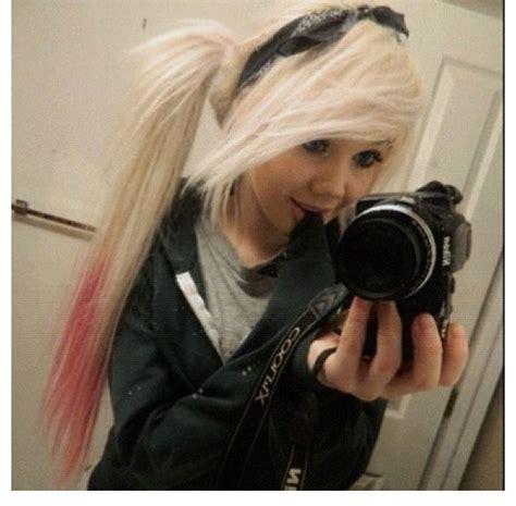 emo hairstyles ponytail long blonde hair pink tips ponytail bandana