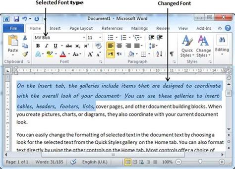 tutorialspoint word setting text fonts in word 2010