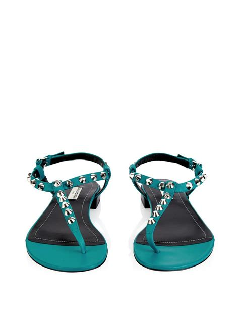 lyst balenciaga arena studded flat sandals in blue