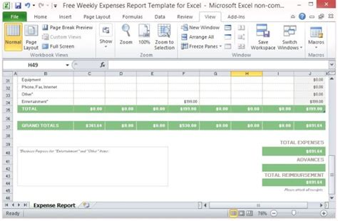 Free Weekly Expenses Report Template For Excel Excel Expense Template
