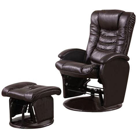 Glider Recliner Ottoman Coaster Faux Leather Glider Recliner Chair With Ottoman In Brown Ebay