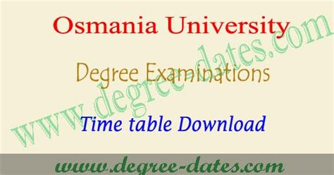 Ou Mba 1st Sem Fee 2017 by Ou Degree 2nd Sem Time Table 2018 Osmania 1st Year Ug