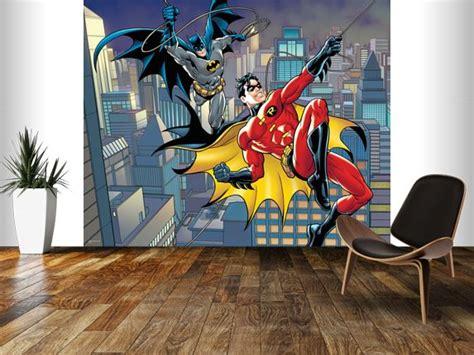 batman bedroom wallpaper dc comics batman and robin rope swing wall mural room