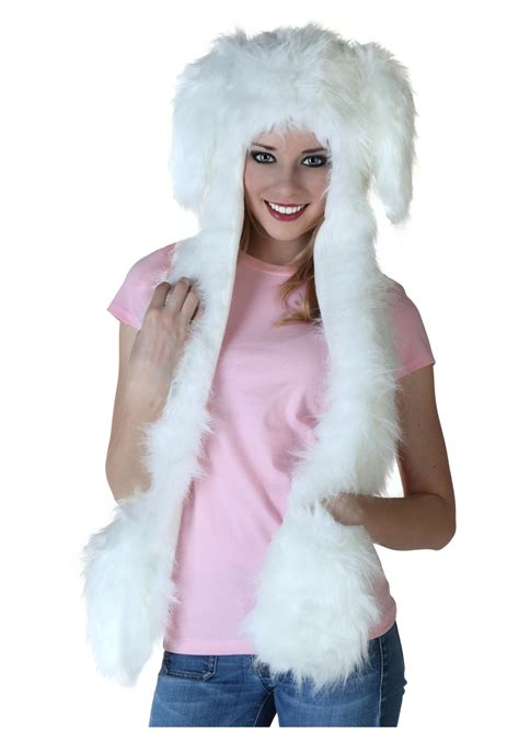 ears costume floppy ear white rabbit hat w mittens
