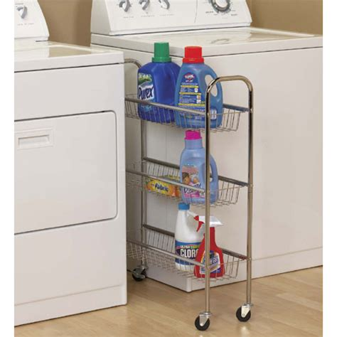 Slim Three Tier Laundry Cart Chrome In Laundry Carts Laundry Room Storage Cart