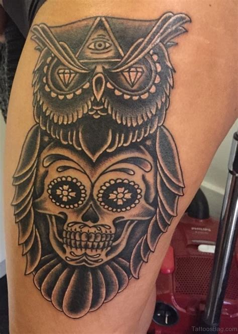 owl and sugar skull tattoo 50 lovable owl on thigh