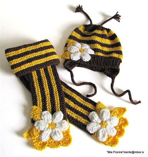 Bee Knit Hat knit hat and scarf bee hat bee hat and scarf by