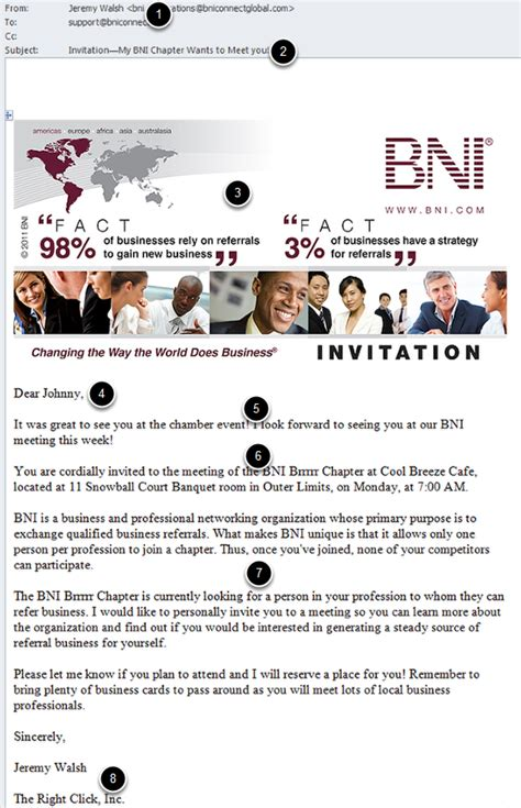 create email email  visitor invitation bni connect bni university support