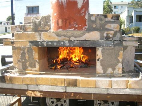wood fired pizzabread oven plans  outdoors backing