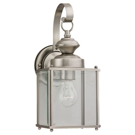 Brushed Nickel Outdoor Light Sea Gull Lighting Jamestowne 1 Light Antique Brushed Nickel Outdoor Wall Fixture 8457 965 The