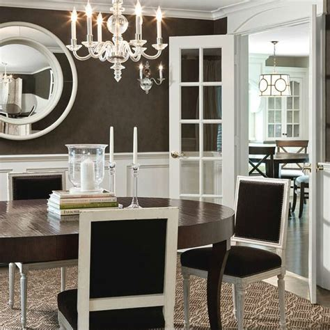 Brown Wainscoting by White Chocolate Brown Dining Room Design With