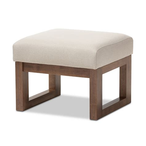 Modern Ottomans And Stools Baxton Studio Yashiya Mid Century Retro Modern Light Beige Fabric Upholstered Ottoman Stool