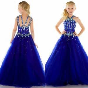 Gowns For Weddings 2015 New Tulle Royal Blue Cheap Beauty Pageant Dresses For Girls Formal Long Dress For