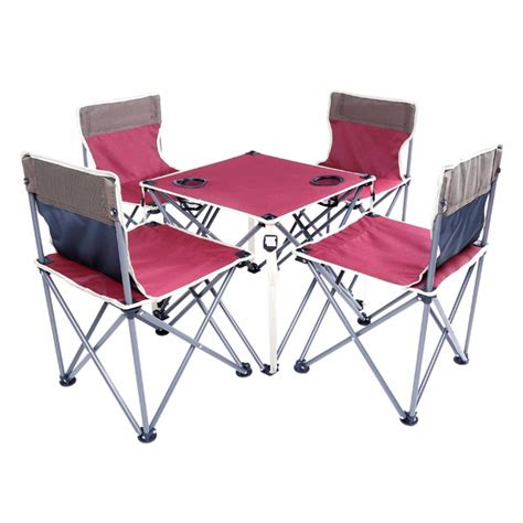 Portable folding beach table and chair five sets burgundy integrated design high stability for