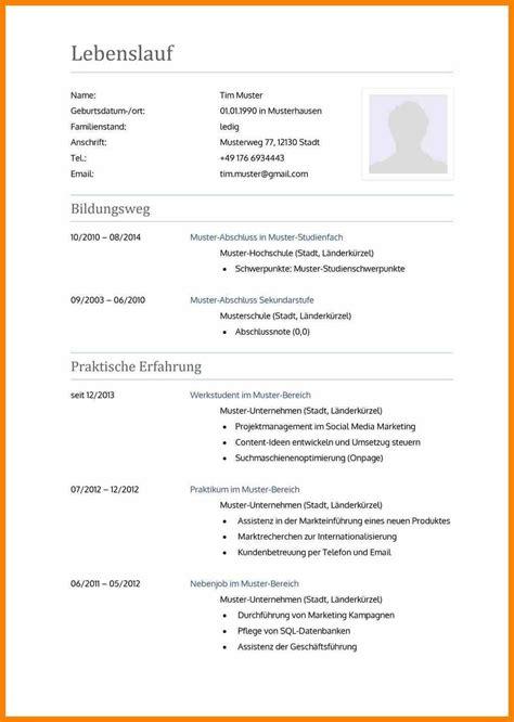 Lebenslauf Ausbildung Muster 2016 by 6 Lebenslauf 2016 Muster Avant Trash