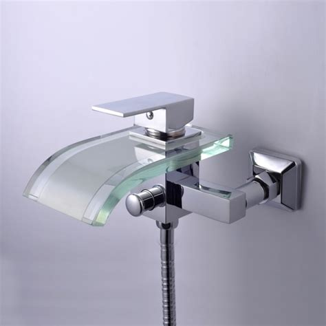single handle waterfall wall mount chrome glass bathtub