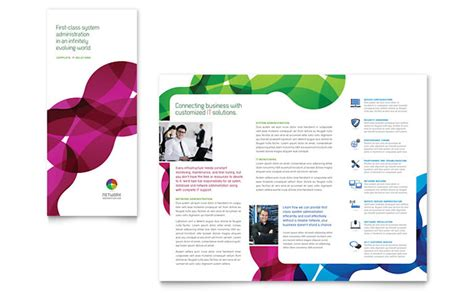 microsoft templates brochures network administration tri fold brochure template design