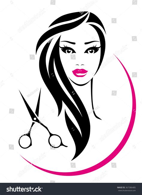 Hairstyle Tools Designs For Silhouette Cutting by Hair Salon Sign Pretty Stock Vector 367386485