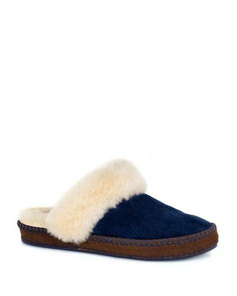 navy blue ugg slippers ugg aira sheepskin slippers in blue navy lyst