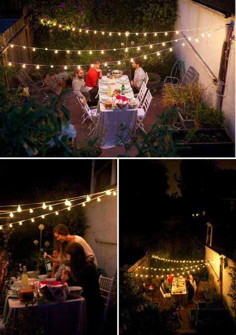 breathtaking yard  patio string lighting ideas