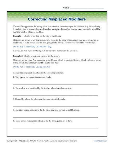 parts of speech worksheets 7th grade