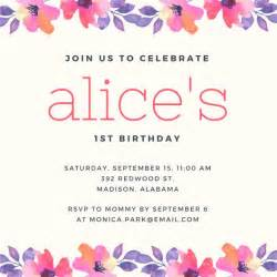 template birthday invitation 1st birthday invitation templates canva
