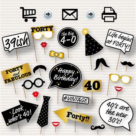 free printable photo booth props 40th birthday 40th birthday party printable photo booth props glasses