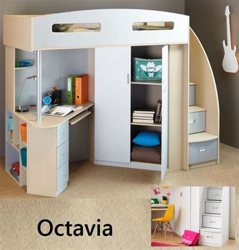 bunk bed with desk and bookcase octavia single cabin bunk bed loft desk bookcase cupboard