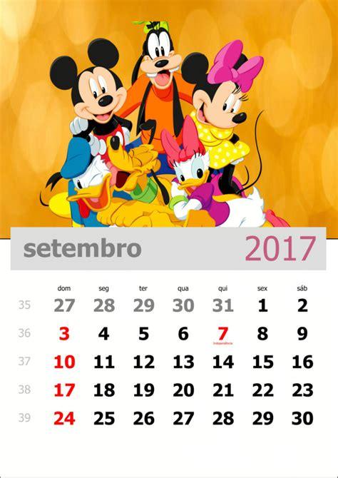 Calendario Setembro 2017 Calend 225 2017 Turma Do Mickey Mensal