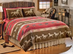 King Size Bedding With Horses Western Galloping Horses Theme Coverlet Bedding