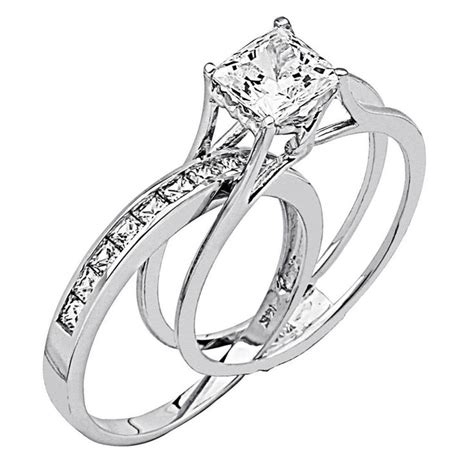 princess cut 2 pcs engagement wedding ring band set solid