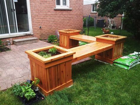 wooden bench with planters diy corner planter bench free outdoor plans diy shed