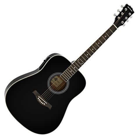 Guitar Black dreadnought electro acoustic guitar by gear4music black