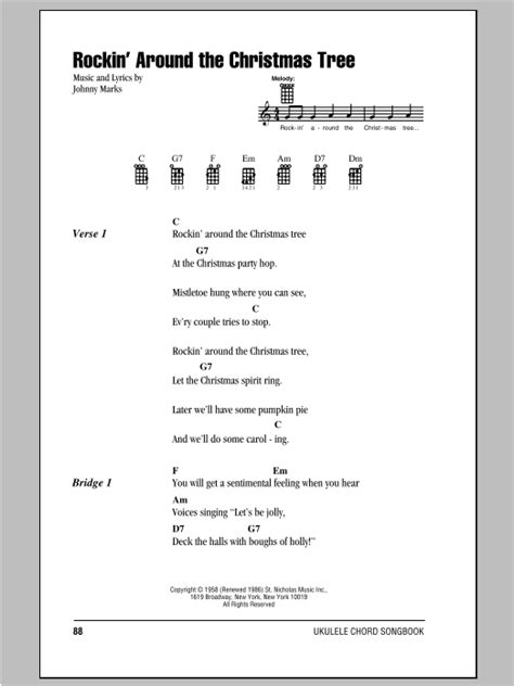 strumming pattern for up around the bend rockin around the christmas tree sheet music by johnny