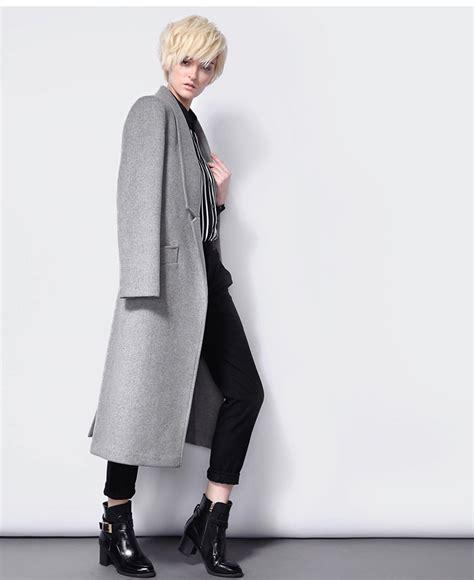 Jaket Grey Style Longsleeve grey sleeve notch lapel pockets coat sheinside