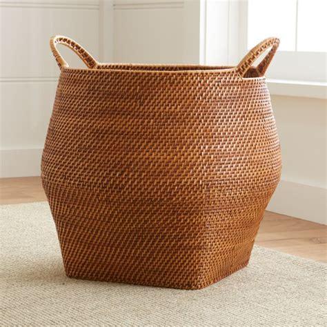 Sedona Honey Round Rattan Storage Basket   Crate and Barrel