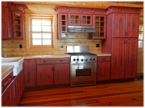 red kitchen cabinets rustic red kitchen cabinets alkamedia com