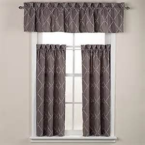 Grey Valance Curtains Wellington Bath Window Curtain Tier Pair And Valance In Grey Bed Bath Beyond