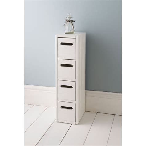 Polar 4 Drawer Unit White Bathroom Furniture B M Small Bathroom Storage Drawers