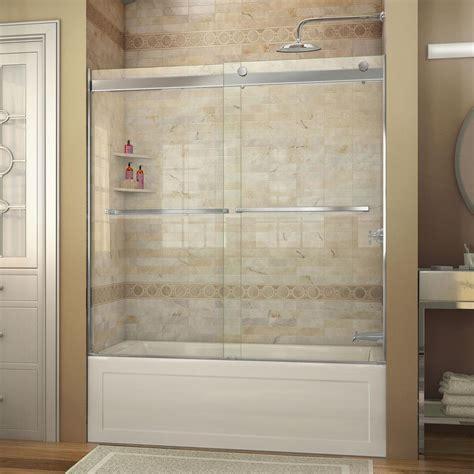 Tub Shower Doors Frameless Dreamline Essence 56 In To 60 In X 60 In Semi Frameless Sliding Tub Door In Chrome Shdr
